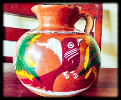 Southwestern-Style Handcrafted & Painted Clay Pitcher