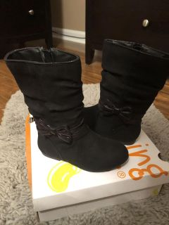 NEW IN BOX GIRLS JUMPING BEAN TALL BLACK BOOTS WITH ZIPPER SIZE 8