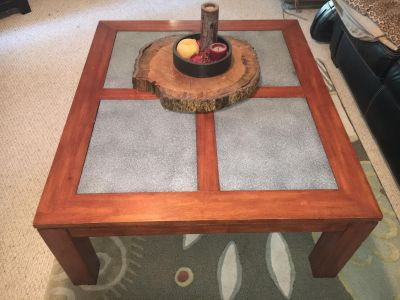 Large coffee table with glass inserts