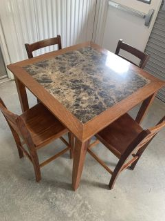 Gorgeous Marble Style Topped Wood Kitchen Table w/ 4 Chairs