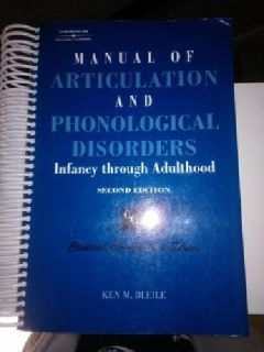 $100 OBO Manual of Articulation & Phonological Disorders Textbook - LIKE NEW