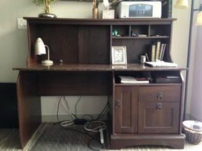 Large Desk with Granite Countertop and Hutch