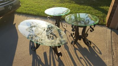 Excellent condition glass and metal coffee and end tables
