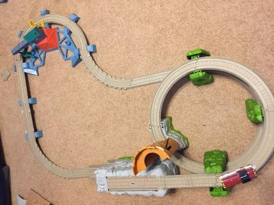 Train track and trains