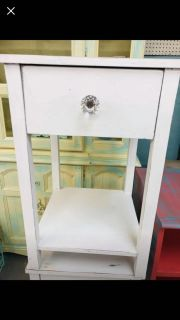 2 white shabby end tables