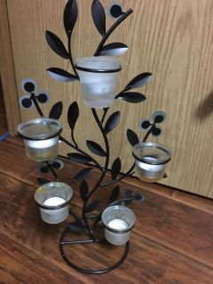Leafy candle holder (metal)