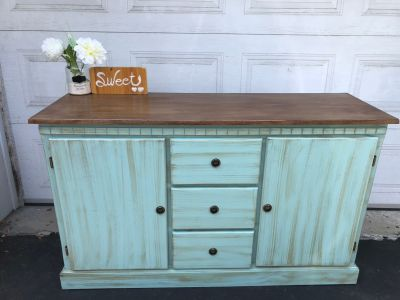"""GORGEOUS Accent Buffet/TV Console/ Entrance table- 53.5""""x32.5""""x17.5""""-refinished in turquoise/brown-185$"""