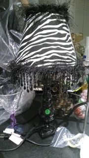 """Black n white zebra lamp with beaded fringe about 19"""" tall"""