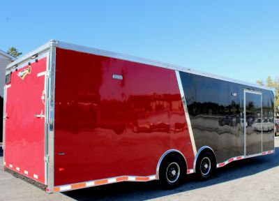 Super Sharp! 28' Black/Red Race Trailer w/Red Cabs