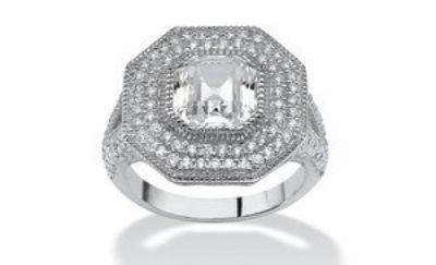 ***BRAND NEW***3.15 TCW Ascher-Cut CZ Halo Hexagon Ring in Sterling Silver***GORGEOUS