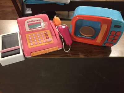 Microwave and cash register