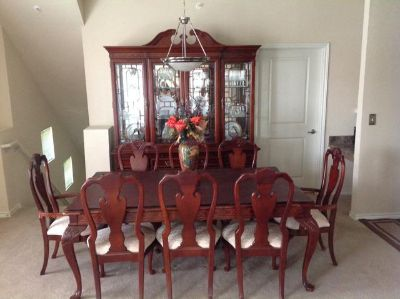 $4,500, cherrywood stanley china cabent and table
