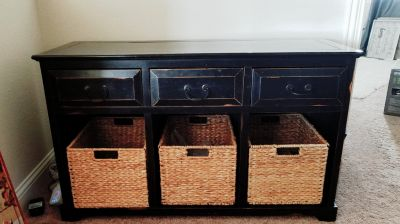 Decorative Table with 3 Drawers and Baskets