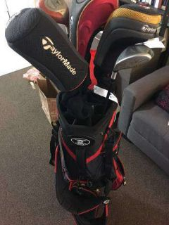 Golf bag, driver, fairway wood, balls