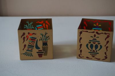 Party Lite Pair of Southwestern Stained Glass Candle Holders