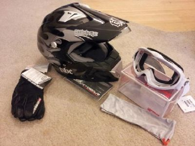 $200 OBO Motorcycle Helmet, Gloves, and Goggles