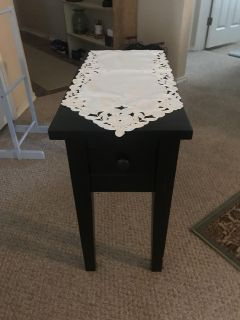 Nice black side table. Just don t need anymore. See all pics for blemish on the last pic. Quick sale in Dove crossing