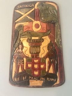 Hand carved Jamaican Coat of Arms wall decor