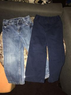 Size 4 boys jeans and dress pants $5 for both