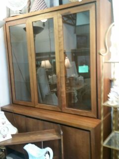 Solid wood China lighted china hutch