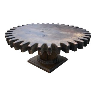 Vintage Cog Wheel Coffee Table Rotating