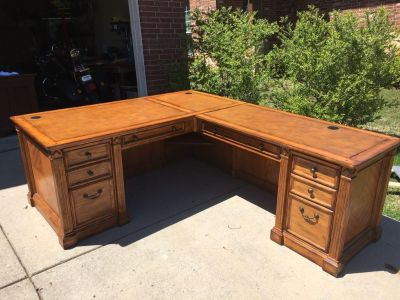Large Heavy Wooden Executive Computer Desk
