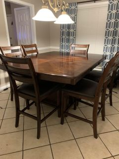 Counter Height Dining Table and 6 Chairs