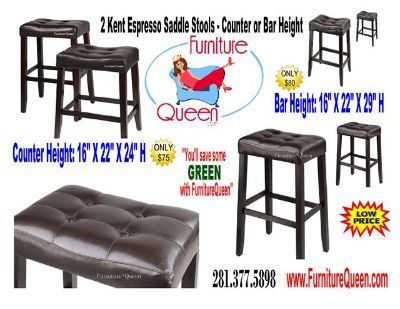 $75, Espresso Saddle Stools- Counter $75 OR Bar $80 Height