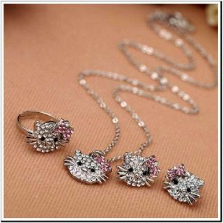 Hello Kitty Necklace, Ring and Earrings