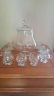 German crystal punch bowl with 12 cups