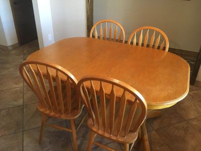 Wood Table with 5 chairs and 2 extenders