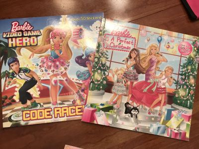 2 Barbie books with stickers