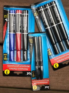3 packs of permanent markers