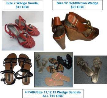 $12, 6 Pairs of Womens Wedge ShoesSandals size 7, 11, 12, 13