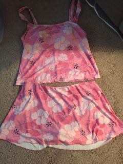 Catalina Pink flowered bathing suit size 12-14