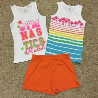 Girls size 7-8 tanks and shorts