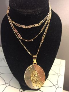 18k GPL San Judas Oval Pendant With Chain Necklace