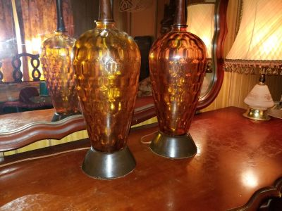 Antique amber glass lamps work perfect