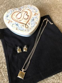 Brighton Jewelry Two-Tone Square Necklace & Earrings