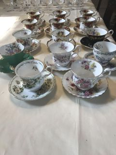 Fine bone cups and saucers from England