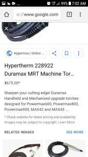 Hypetherm Duramax MRT Torch