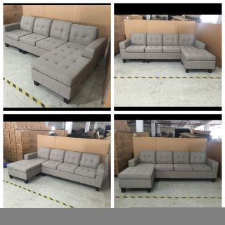 """Brand New 4 seater European style light grey lounge sofa with reversible chaise 99""""w x50""""(chaise) x 33""""t x31""""d - Free delivery"""