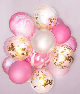 Gold Confetti Balloons with Pink Marble Balloons