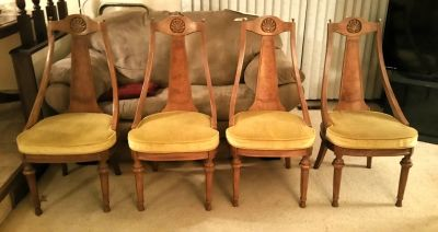 Four Wood Mid Century Old Word Dining Chairs