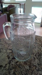 Vintage Inspired Embossed Italian Glass Pitcher