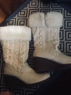 Decree Women s white sweater boots.