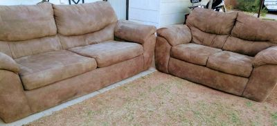 2 piece couches suede. Great condition