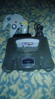 Nintendo 64 system with hame and controller.