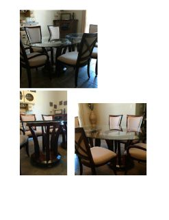 Glass dining table on pedestals - 6 chairs