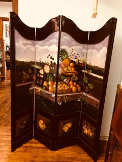 Gorgeous Hand Painted 4 Section Wood Room Divider/Folding Screen